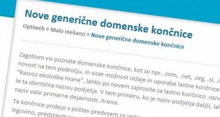 Nove generične domenske končnice