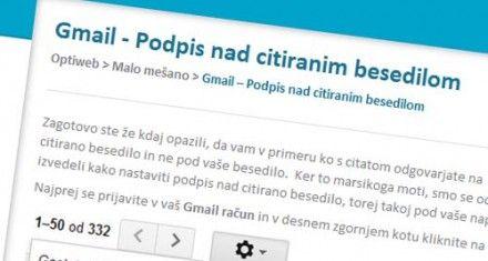 Gmail podpis nad citatom