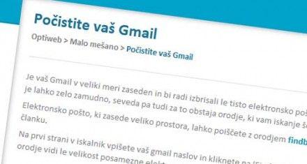 Izbris velikih gmail sporočil