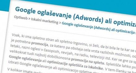 Adwords ali optimizacija