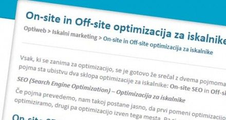 On-site in off-site optimizacija