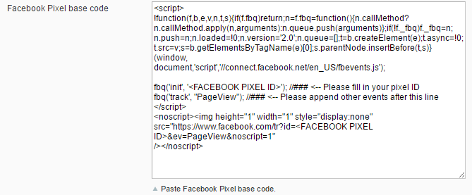 Facebook pixel base source code