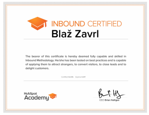 Blaž Zavrl HubSpot Inbound Marketing Certifications