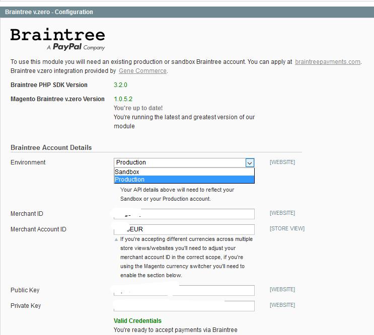 Braintree - Magento - osnovna konfiguracija