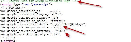 Google Conversion Code