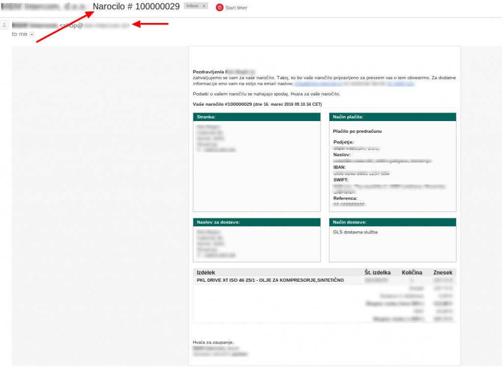 Primer emaila - novo naročilo