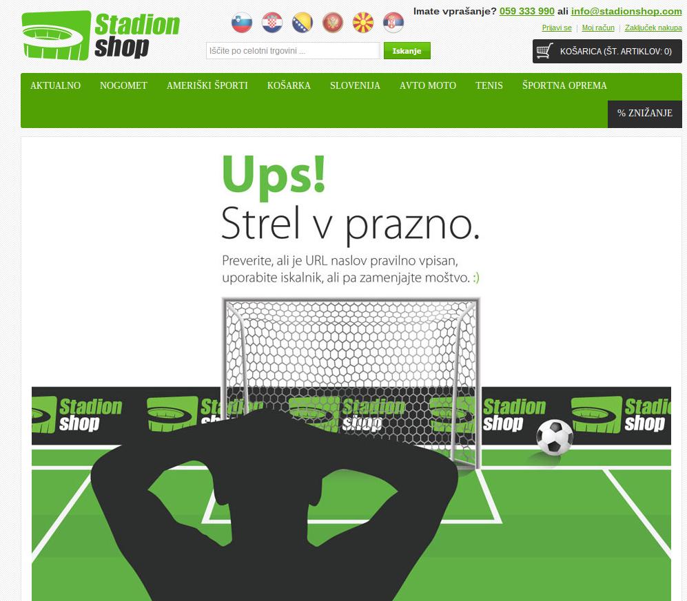 Stadionshop - 404 spletna stran