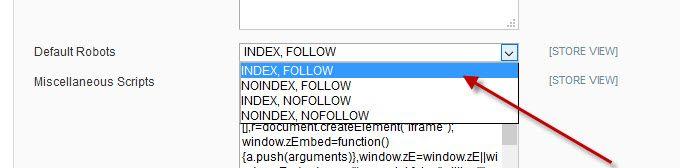 Index, Follow - Defaults Robots nastavitev