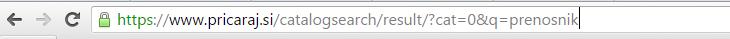 Primer iskanja na strani