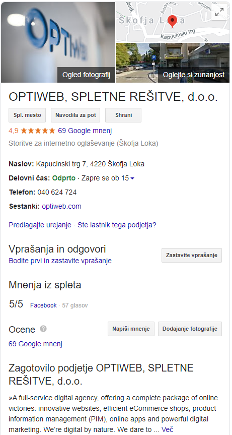 Profil Google My Business za podjetje Optiweb
