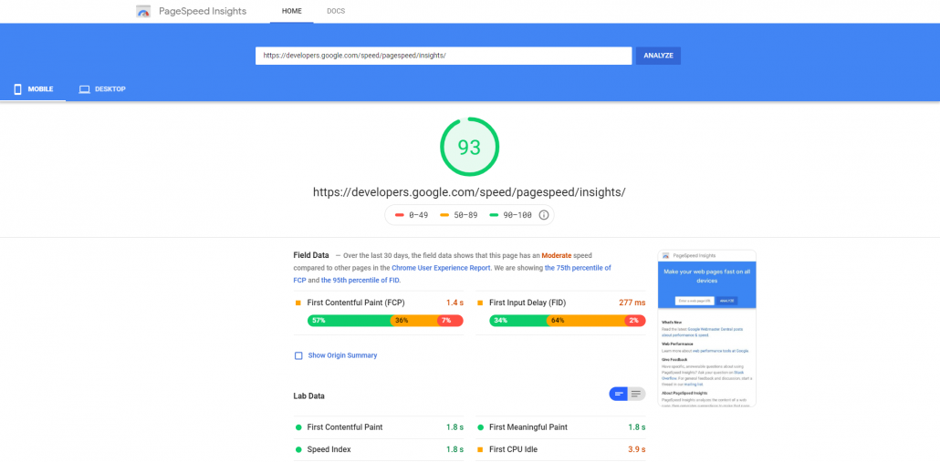Prikaz orodja PageSpeed Insights, ki meri hitrost nalaganja spletnega mesta