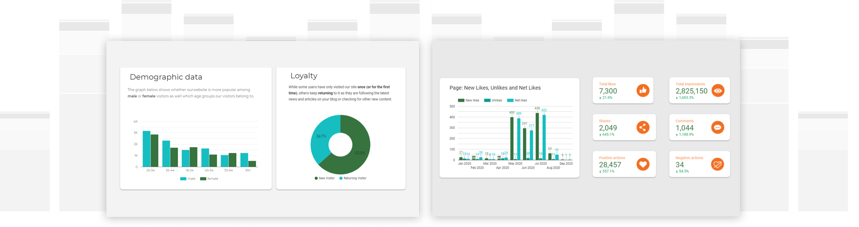 Number of likes on Facebook and daily overview of website traffic in a Google Data Studio report.
