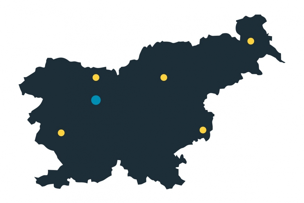 Kraji, iz katerih prihajajo naši zaposleni po Sloveniji.