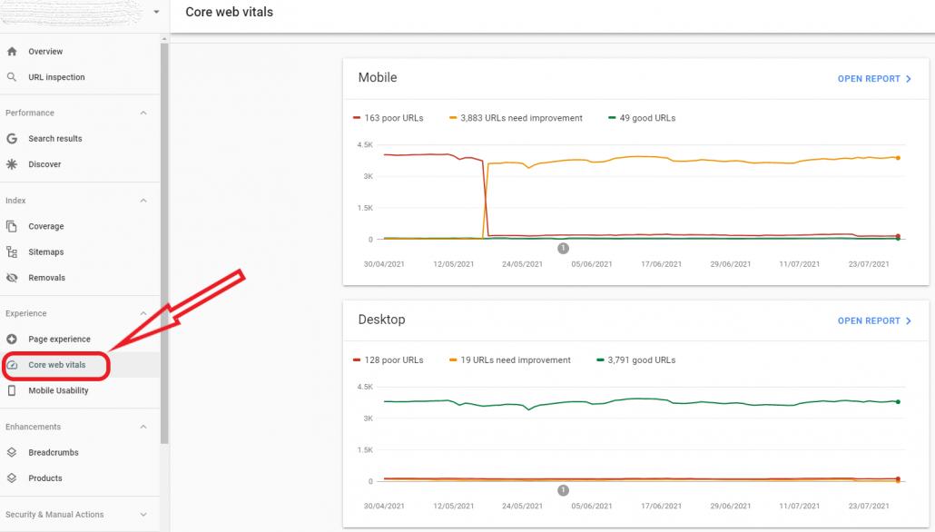 Core Web Vitals on Google Search Console